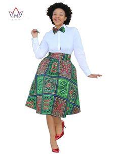 Jupe Pagne  :    Description    Ensemble 2 pièces jupe chemise imprimé africain, taille plus