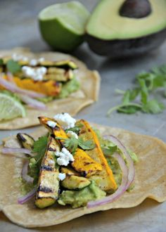 Grilled Summer Squash Tacos with Avocado and Feta cheese.