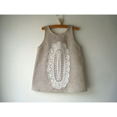 Linen and Doily Dress   Size 2T  Wedding Doily by pinkdixie, $48.00