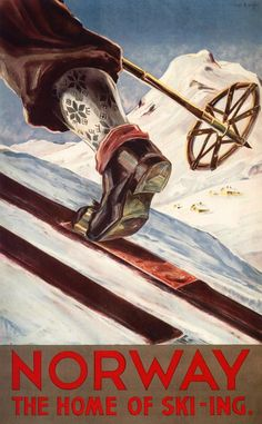 Norway - The Home of Skiing - Vintage Travel Poster (Art Prints, Wood & Metal Signs, Canvas, Tote Ba Poster On, Poster Prints, Art Prints, Vintage Ski Posters, Retro Posters, Skier, Ski Mountain, Vintage Hawaii, Norway