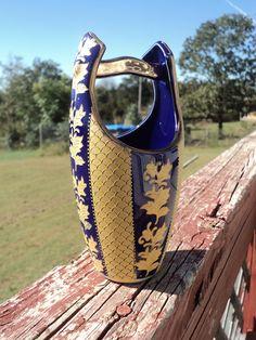 Vintage satsuma gold leaf colbalt blue  vase (marked) VERY RARE