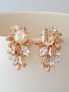 Champagne earrings,Champagne rose gold Bridal earrings,Crystal statement earrings,Extra large cluster earring,Swarovski earring,Gastby style by EldorTinaJewelry | http://etsy.me/2f6RDSr
