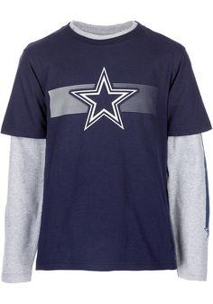 3b54c0012 Dallas Cowboys Youth Navy Blue Jammer Long Sleeve T-Shirt - Image 1 Dallas  Cowboys