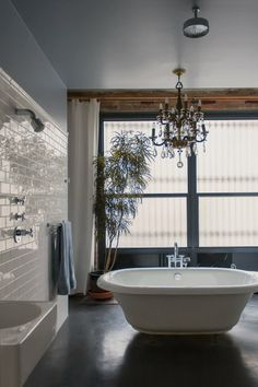 Great bathroom but that chandelier...  Our Favorite Bathrooms