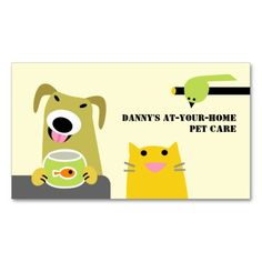 Pet Care Professional Business Cards. Make your own business card with this great design. All you need is to add your info to this template. Click the image to try it out!