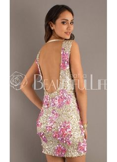 $247.49 Brilliant Satin Cowlneck Light Gold And Pink Sequins Backless #Cocktail Dress– Discount Cocktail Dresses