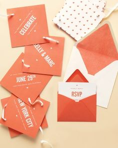 """See the """"String Them Along"""" in our Unique Wedding Invitations gallery http://www.marthastewartweddings.com/333429/unique-wedding-invitations/@center/352417/wedding-invitations#332678"""