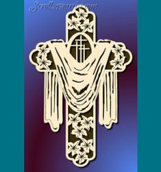 Scroll Saw Patterns :: Religious & Inspirational :: Other crosses :: Cross with cloth & lilies -