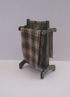 Blanket rack, country look,Dark oak stained. twelfth scale dollhouse miniature on Etsy, $8.00