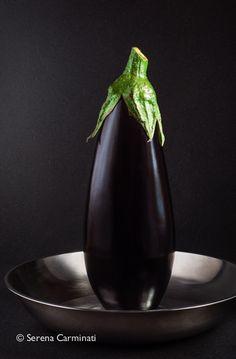 Aubergine with metal dish