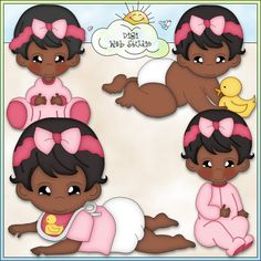 Bouncing Baby Girls 3 - Non-Exclusive Clip Art : Digi Web Studio, Clip Art, Printable Crafts & Digital Scrapbooking!