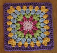 Pink Sun Granny Square Motif By Lynne Samaan - Free Crochet Pattern - (ravelry)… Grannies Crochet, Crochet Squares Afghan, Granny Square Crochet Pattern, Crochet Blocks, Love Crochet, Crochet Motif, Diy Crochet, Granny Squares, Doilies Crochet