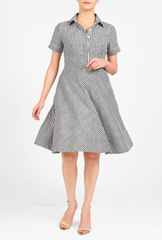 I <3 this Cotton stripe fit-and-flare shirtdress from eShakti
