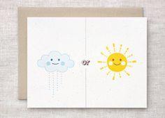 Anniversary Card - Rain or Shine Card, Clouds and Sunshine Friendship Card, Get Well Card, Eco Friendly