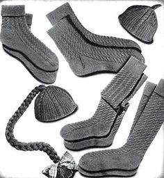 Cable Socks and Calots Set Pattern #376