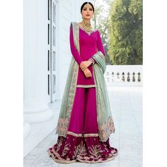 Mohsin Naveed Ranjha - Ghar Naari collection available to order Mumtaz, a bridal consisting of a silk pishwas with… Anarkali Dress, Pakistani Dresses, Pakistani Culture, Desi Wedding Dresses, Bridal Looks, Indian Bridal, Indian Fashion, Party Wear, Designer Dresses