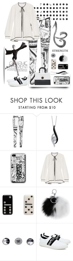"""""""Black and White w/ Graphic Elemet"""" by ladygroovenyc ❤ liked on Polyvore featuring Versus, Sirena, Oscar de la Renta, Marc Jacobs, Adrienne Landau, Snap Jewels, Mother of Pearl, blackandwhite and Graphic"""