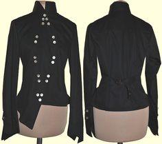 Black Military Kimono Blouse