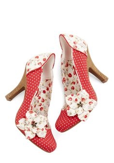 Strawberry-patterned heels: perfectly adorable for summer. Phrasing Fraises Heel, #ModCloth