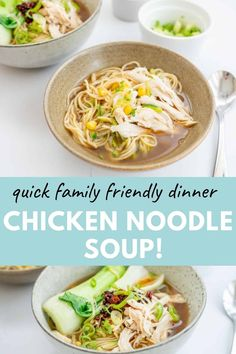 A quick and delicious Asian chicken noodle soup, cooks in one pot, kids absolutely love this soup. Get this delicious recipe here at My Kids Lick The Bowl Stew Meat Recipes, Chowder Recipes, Healthy Soup Recipes, Healthy Food, Healthy Family Dinners, Healthy Meals For Kids, Vegetarian Comfort Food, Vegetarian Soups, Asian Chicken Noodle Soup