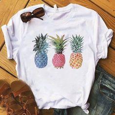 Pineapple fruits Clothing T-shirt Fashion Female Tee Top Graphic T Shirt Women Kawaii Camisas Mujer Clothes 2019 Orange Mode, Pineapple Shirt, Pineapple Clothes, Clothes 2019, Orange Fashion, White Fashion, Pink Fashion, Style Fashion, Fashion Dresses