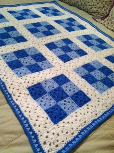 Crochet Afghans Ideas Looking for crocheting project inspiration? Check out 9 Patch Baby Blanket for Boy by member Lynn Wolfe. Crochet Afghans, Crochet Quilt Pattern, Granny Square Crochet Pattern, Crochet Squares, Crochet Blanket Patterns, Crochet Granny, Baby Blanket Crochet, Knit Crochet, Crochet Blankets