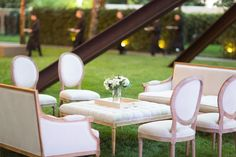 Our Edward Dining Chairs and Sofas incorporated with our Edward Tufted Square Ottoman created this elegant outdoor setting!