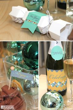 Free printables! New Years Eve Party Kit in gorgeous colors and geometric pattern. Love it!