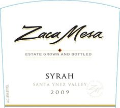 awesome Syrah | 2009 Zaca Mesa Winery Syrah Santa Barbara County, Santa Ynez Valley 750 mL