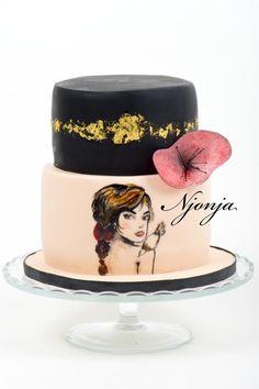 Handpainted birthday girl cake by Njonja