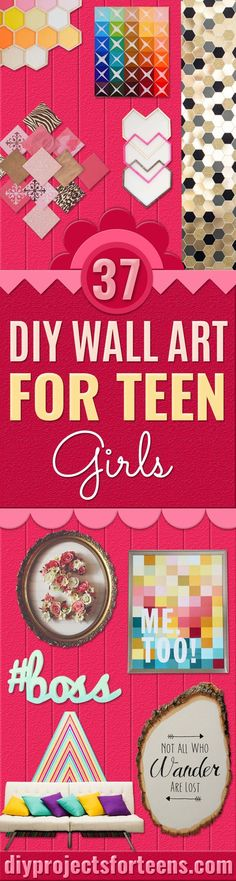 DIY Wall Art Ideas for Teen Rooms -Cheap and Easy Wall Art Projects for Teenagers - Girls and Boys Crafts for Walls in Bedrooms - Fun Home Decor on A Budget - Cool Canvas Art, Paintings and DIY Projec (Cool Bedrooms For Teen Girls) Art Ideas For Teens, Art Projects For Teens, Easy Art Projects, Crafts For Boys, Diy For Girls, Diy For Teens, Fun Crafts, Diy And Crafts, Girls Fun
