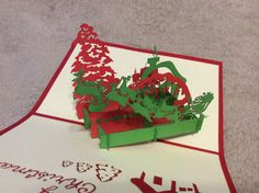 3D Christmas scene pop up card by WonderPopCards on Etsy