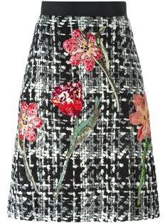 Dolce & Gabbana flower bouclé knit skirt