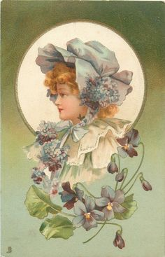 head & sholders study of girl in light blue bonnet tied under her chin, faces left, violets below