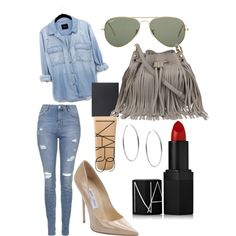 Denim by olive-izzet on Polyvore featuring polyvore, fashion, style, Topshop, Jimmy Choo, Karen Millen, Michael Kors, Ray-Ban and NARS Cosmetics