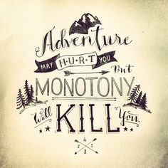 Adventure may hurt you.  But monotony will kill you. Hand Lettering by 48 Savvy Sailors