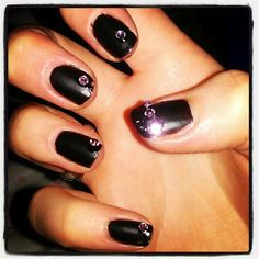 Bedazzled Matte Black Manicure. NOTD. Nails of the day.