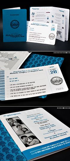 passport wedding invitations. cute for travel enthusiasts or for a destination wedding.