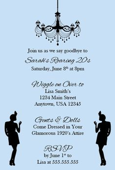 Roaring 20's Flapper/Great Gatsby Party Invitation