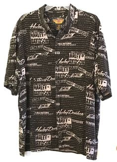 Harley Davidson Hawaiian Camp Shirt Mens Size 2xl Black With Graphic Wrds  | eBay