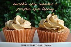 shaken together:  pumpkin spice cupcakes with pumpkin spice topping (only 5 ingredients to make both!)