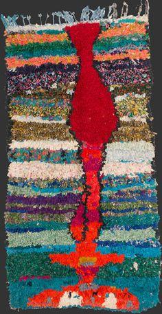 bs181, Moroccan vintage boucherouite rag rug 225 x 120 cm / 7' 6'' x 4'↑