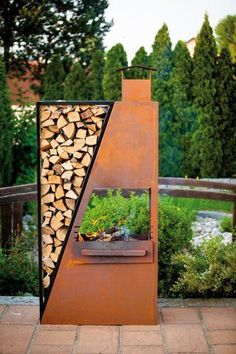 Can this be built for a gas (cjh) Fire Pit Backyard, Backyard Patio, Backyard Landscaping, Garden Art, Garden Design, Home And Garden, Outdoor Fire, Outdoor Living, Rustic Outdoor