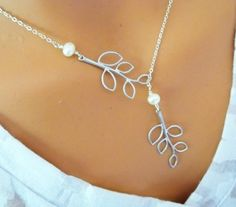 Branch Lariat Necklace  Pearls White Gold Necklace by LadyKJewelry, $31.20 beautiful for mother of the bride gift