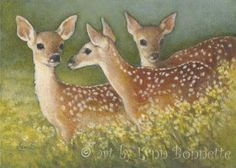 """Making New Friends"" by Lynn Bonnette...deer in a field of daffodils"