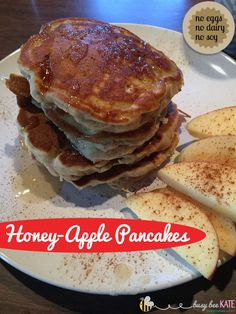 Fall Apple Recipe Round-Up - Honey-Apple Pancakes {allergy-friendly}  Come check out my version of honey-apple pancakes I made for the family.  This recipe calls for no eggs, dairy, soy, or nuts… and no refined sugar. The house smelled so good and we all agreed the pancakes tasted delicious!  #norefinedsugar #nodairy #noeggs #allergyfriendly