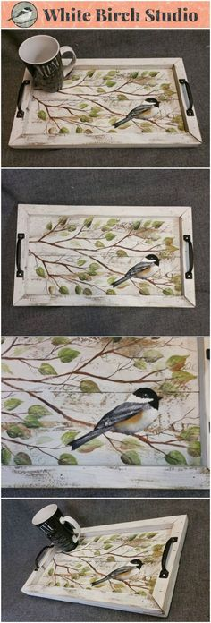 Shabby Chic Hand painted Serving Tray, Chickadee bird and branches, Boxed in with reclaimed peeling paint barn wood, Summer porch, Rustic This unique. Arte Pallet, Pallet Art, Pallet Wood, Rustic Painted Furniture, Wood Furniture, Furniture Ideas, Serving Tray Wood, Wood Tray, Painted Trays