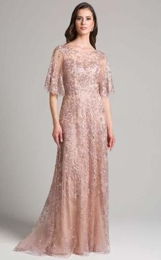 Lara Daniella Lace Cape Sleeve Dress with Crystals Style Mauve, 22 Feminine Mode, Feminine Style, Feminine Fashion, Fashion Fashion, Cape Sleeve Dress, Dress Brokat, Lace Ball Gowns, Mother Of The Bride Gown, Column Dress