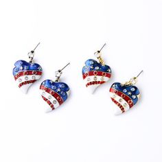 4th July American Flag Shiny Pave Crystal. Enamel Golden Silver Drop Earring Fine Jewelry   Earring Type: Drop Earrings   Item Type: Earrings   Fine or Fashion: Fashion   Gender: Women   Style: Romantic   Material: Lucite   Metals Type: Zinc Alloy   Shape\pattern: Heart   Model Number: E2104   Brand Name: GET IT GIRL   Color: As Picture   Shipping:: By China Post or By Express   Size: 3.3*2.2m   Weight: 13g   Earrings For Women Packing:: OPP bag   Min/Mix: $10   Place of origin:...