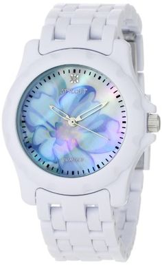 Sprout Women's ST6001BMWT Diamond Accented Blue Flower Dial and White Corn Resin Bracelet Watch